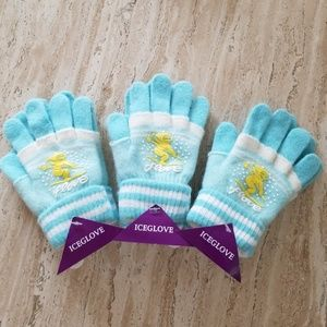Set of 3 New Light Blue Double Layered Wool Gloves